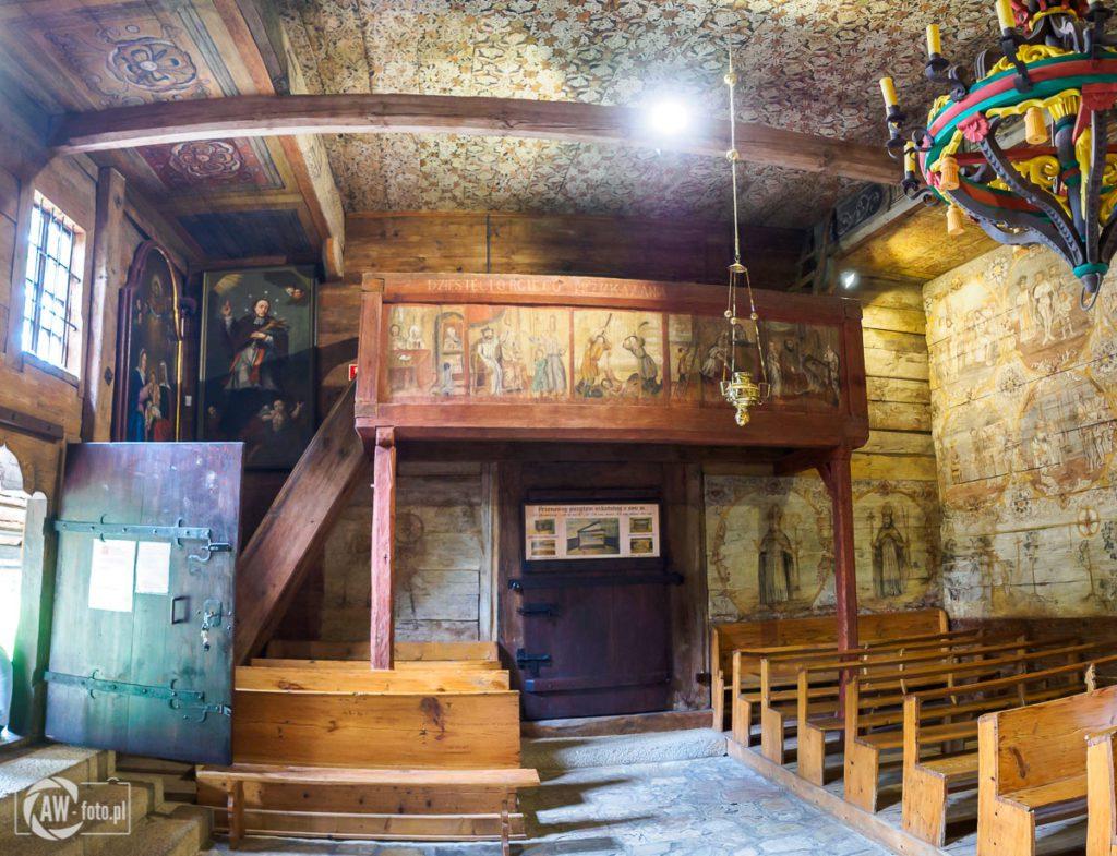 Kościół św. Leonarda w Lipnicy Murowanej - chór z pozytywem szkatularnym