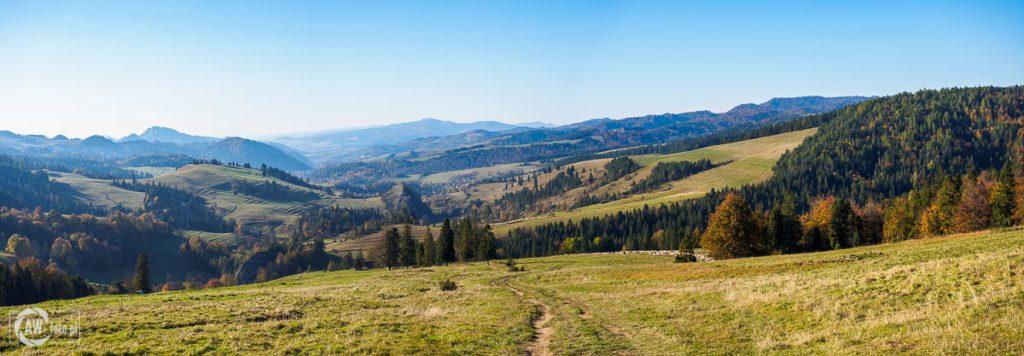 Widok z Przełęczy Rozdziela na Rezerwat Białej Wody