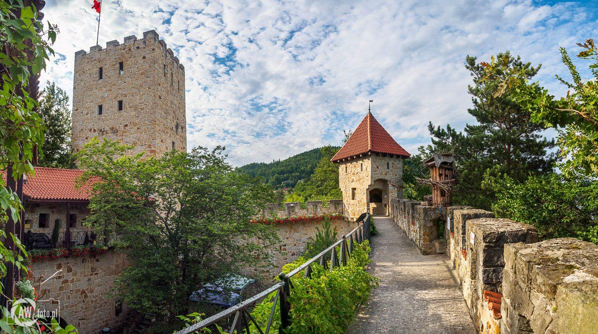 Zamek Tropsztyn - widok na mury zamkowe basztę i wieżę
