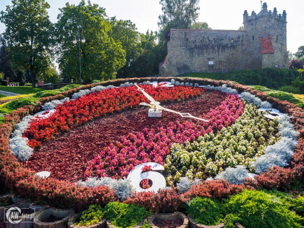 Zamek królewski w Nowym Sączu - kwiatowy zegar