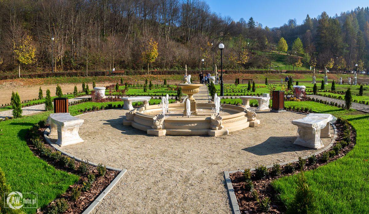 Park zdrojowy Zapopradzie w Muszynie -ogrody francuskie