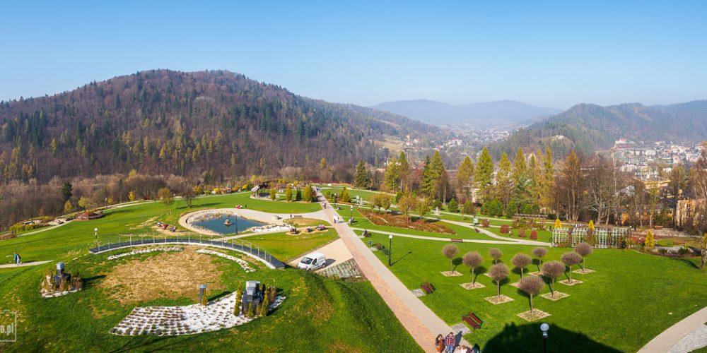 Ogrody sensoryczne w Muszynie - panorama z wieży widokowej