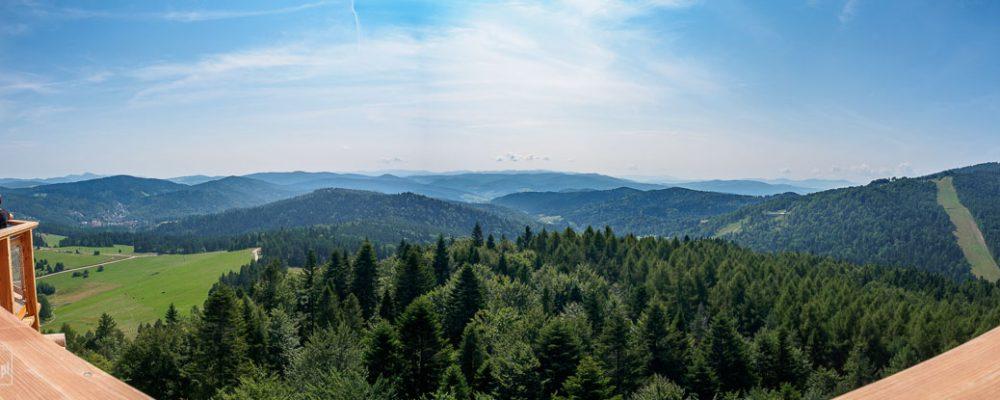 Wieża widokowa w Krynicy - Zdroju - widok na Jaworzynę Krynicką